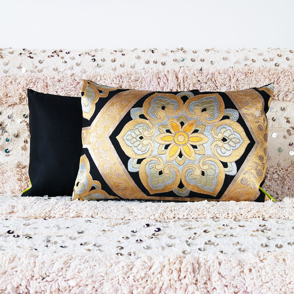 Black Throw Cushion -Gold Silver Floral Embroidery -Japanese Obi Pillow - product image