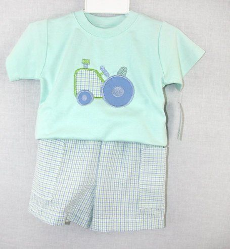 Baby Boy Clothes, Baby Boy Shorts Suit, Tractor Shirt, Tractor Birthday 291385 - product images  of