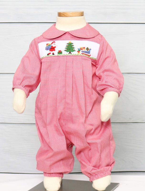 Baby boy Christms Outfit, Smocked Christmas Outfit, Boy Smocked Outfits 41287-DD258 - product images  of