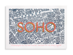Soho,(Francis,Bacon,edition),west end, soho, members club, wedding list, affordable art, art prints, soho print, screen print, artist editions, art print, London, map, maps, teal, coral pink, coral orange, broadway market, planet patrol gallery