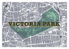 Victoria,Park,(Teal,Green,&,Pale,Gold),londons green spaces, london parks, victoria park, east london, screen prints, artist editions, affordable art, london map