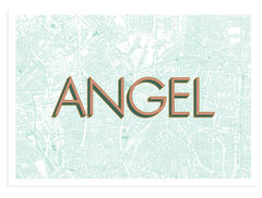 Angel,angel islington, east london, london maps, affordable art, screenprint, screen print