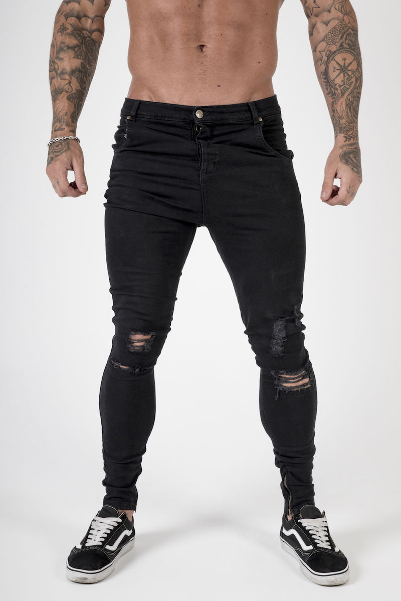 Ripped Drop Crotch Stretch Skinny Jeans