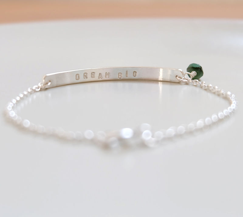 Personalised Silver Birthstone Bar Bracelet - product image