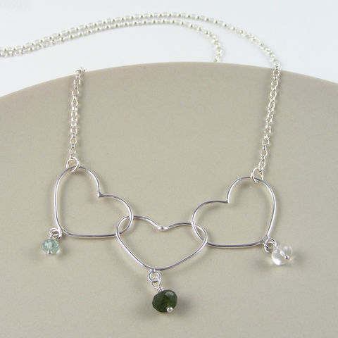 Silver,Mother,and,Children's,Heart,Birthstone,Necklace