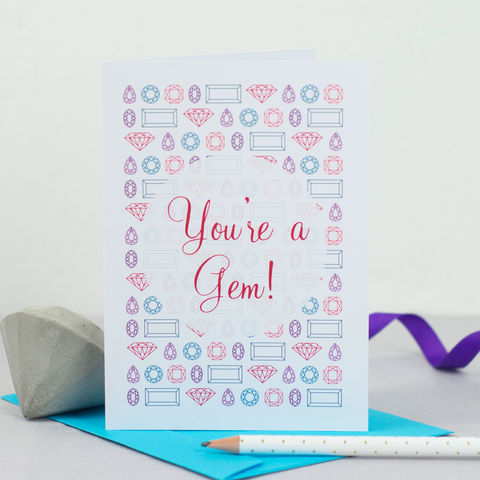 You're,a,Gem,Card,Paper_Goods,greetings_card,thank_you_card,bridesmaid_thank_you,bridesmaid_card,geometric_print,geometric_design,Tanya_Garfield,free_UK_shipping,bridal_party,geometric,on_trend,printed_in_the_UK,illustration