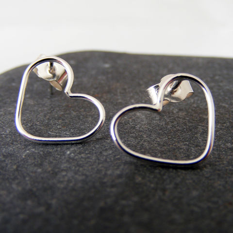 Silver,Heart,Stud,Earrings,Jewelry,UK_handmade,delicate_studs,heart_stud_earrings,love_earrings,bridesmaid_studs,heart_jewellery,Mother's_Hearts,wedding_jewellery,Tanya_Garfield,free_UK_shipping,bridal,classic,silver