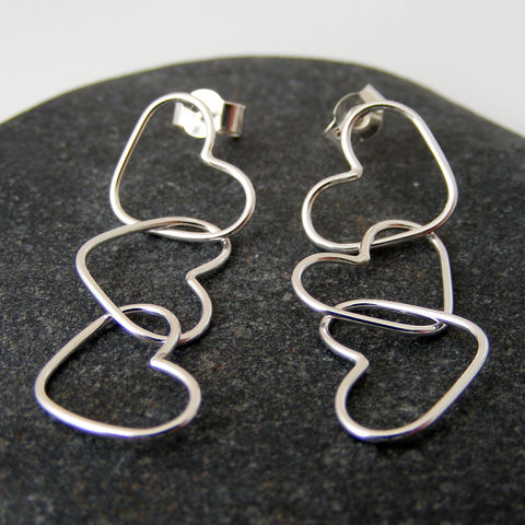Silver,Triple,Heart,Dangle,Earrings,Jewelry,UK_handmade,bridal_jewellery,heart_earrings,bridal_earrings,bridesmaid_jewellery,wedding_jewellery,dangle_earrings,long_earrings,Tanya_Garfield,free_UK_shipping,silver,classic,delicate