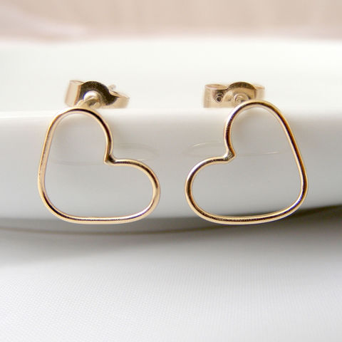 Gold,Heart,Stud,Earrings,Jewelry,UK_handmade,bridesmaid_gifts,heart_earrings,bridal_jewellery,wedding_jewellery,bridesmaid_jewellery,gold_earrings,love_jewellery,classic_studs,Tanya_Garfield,free_UK_shipping,delicate,bridal_earrings
