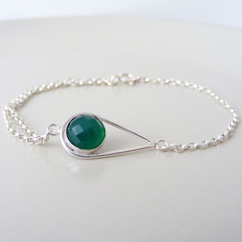 Green,Agate,Silver,Bracelet,Jewelry,Tanya_Garfield,UK_handmade,free_UK_delivery,teardrop_bracelet,green_bracelet,bridesmaid_bracelet,bridesmaid_gift,beautiful_bracelet,delicate_bracelet,contemporary,classic_bracelet,double_chain,jewel_green