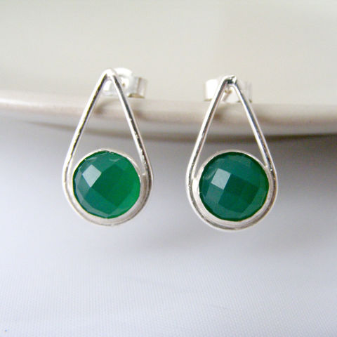 Green,Agate,Silver,Earrings,Jewelry,Tanya_Garfield,UK_handmade,free_UK_delivery,stud_earrings,alternative_studs,bridesmaid_earrings,bridesmaid_gift,green_earrings,contemporary,modern_studs,teardrop_earrings,teardrop_studs,green_studs