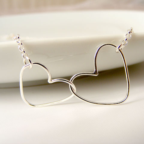 Silver,Double,Heart,Necklace