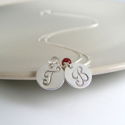 Silver,Double,Initial,Birthstone,Necklace,double initial necklace, monogram necklace, script necklace, birthstone jewellery