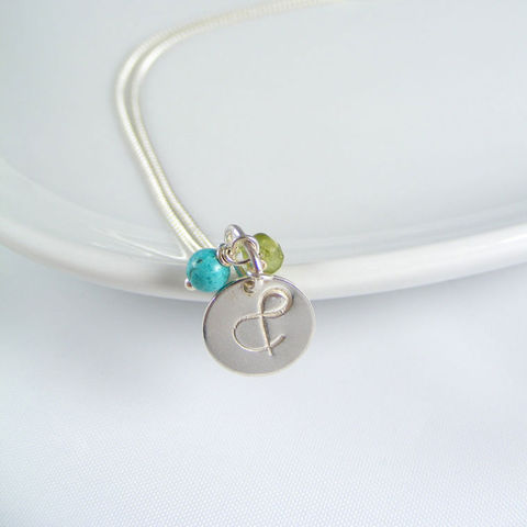 Ampersand,Double,Birthstone,Silver,Necklace,Jewellery, Necklace, ampersand pendant,