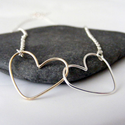 Gold,and,Silver,Double,Heart,Necklace,double heart necklace, duo metal, gold and silver