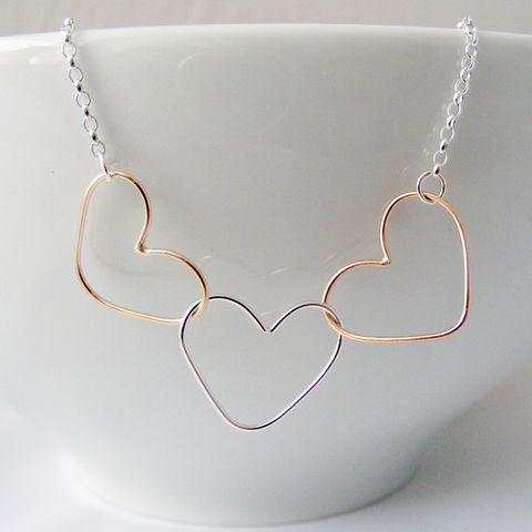 Gold,and,Silver,Triple,Heart,Necklace,triple heart necklace, trio metal, tri colour metal