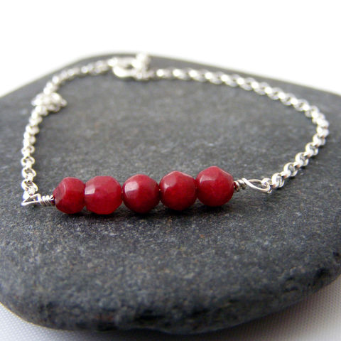 Silver,Ruby,Gemstone,Bracelet,ruby gemstone bracelet, ruby stacking bracelet, sterling silver bracelet