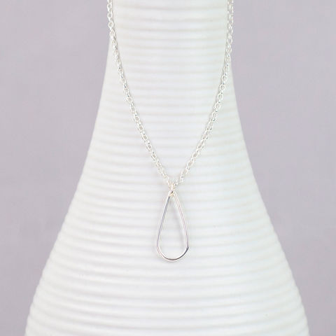 Silver,Open,Teardrop,Necklace,sterling silver necklace, teardrop necklace, silver necklace