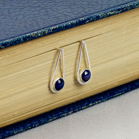 Silver,Lapis,Teardrop,Earrings,lapis lazuli silver earrings, sterling silver earrings, teardrop earrings