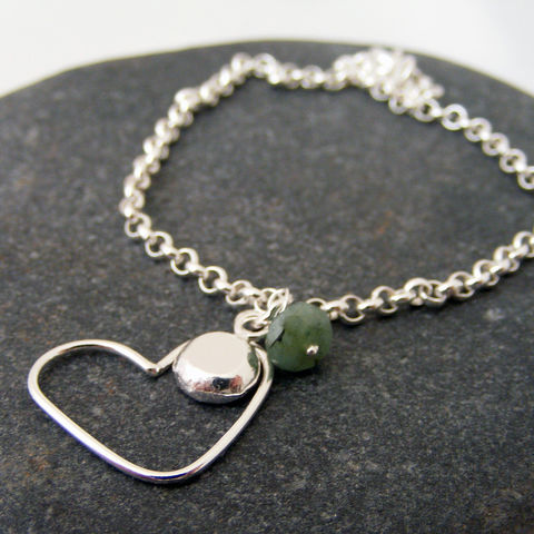 Silver,Heart,,Initial,and,Birthstone,Bracelet,sterling silver bracelet, personalised bracelet, personalised jewellery