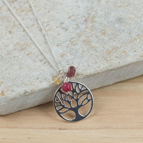 Silver,Family,Tree,Birthstone,Necklace,family tree necklace, circle of life necklace, sterling silver necklace