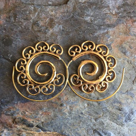 Handmade,Brass,Gipsy,Boho,Spiral,Earring,brass, spiral, earrings, boho, jewellery