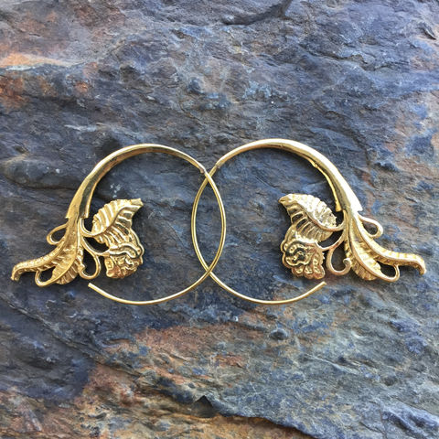 Handmade,Brass,Gipsy,Tribal,Boho,Spiral,Earring,with,roses,rose, brass, earrings, spiral, boho, jewellery