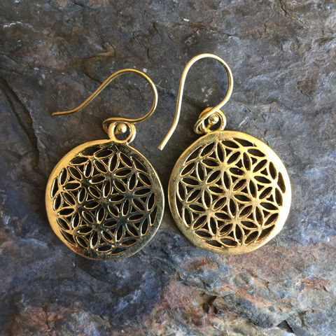 Flower,of,life,nickel-free,handmade,brass,earrings,flower, of, life, brass, earrings