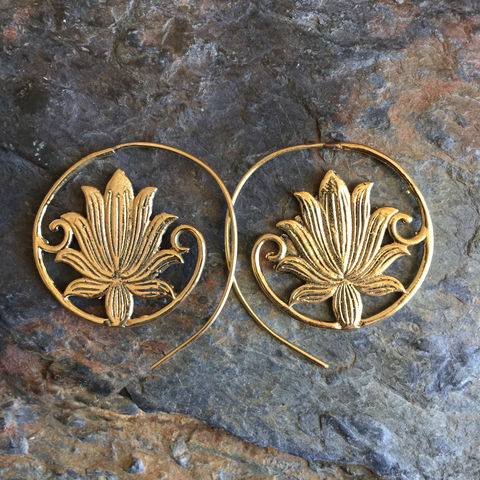 Lotus,flower,handmade,brass,spiral,earrings,(nickel-free,),Floral, nickel-free, handmade,  brass, earrings, boho, gipsy, sexy, discreet, festival, wardrobe, lotus, lotus flower