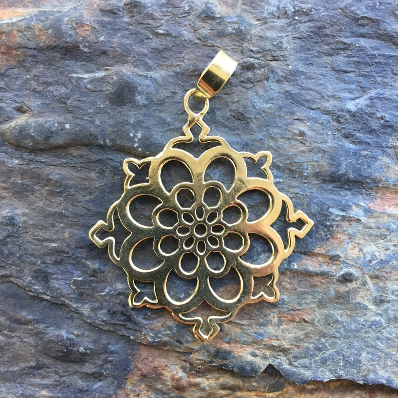 Beautiful floral brass pendant - product images