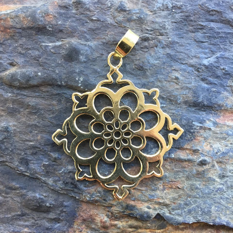 Beautiful,floral,brass,pendant,sacred gemomatry, floral, pendant, brass, nickel-free