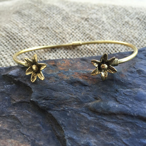 Beautiful,brass,bracelet,with,2,flowers, bracelet, flowers, adjustable, ontheverge, on the verge, jewelry, jewellery