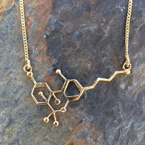 THC,molecule,brass,necklace, brass, necklace, nickel-free
