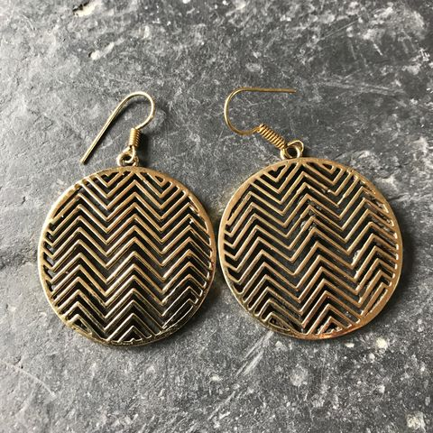 Circular,brass,earrings,with,zig-zag,pattern,On, the, verge, online, Handmade, brass, spiral, tribal, earrings, boho, flower, nickel-free