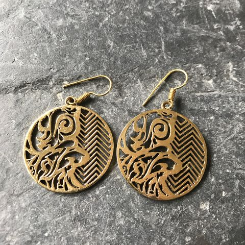 Round,brass,disks,with,zig-zag,and,tribal,pattern,mixed, tribal, brass, earrings