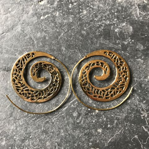 Large,spiral,brass,earrings, spiral, earrings