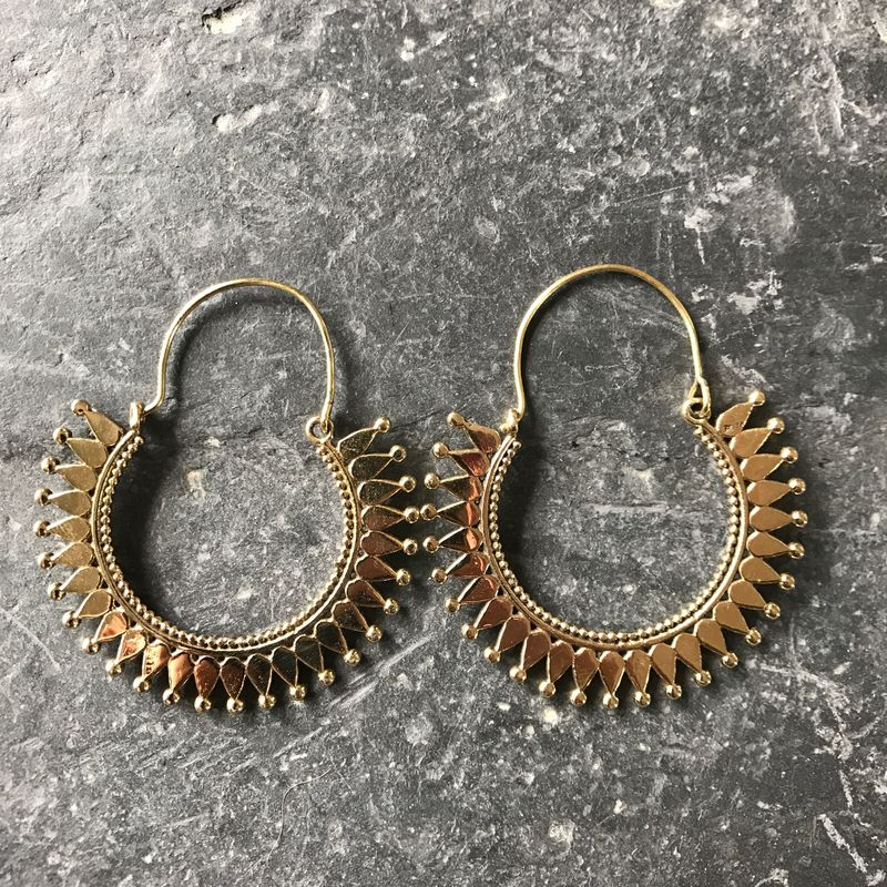 Large tribal gipsy brass earrings  - product images  of