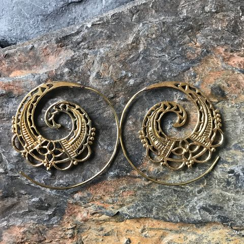 Very,large,brass,spiral,earrings,with,flowers, spiral, brass, earrings, boho, jewellery, fashion