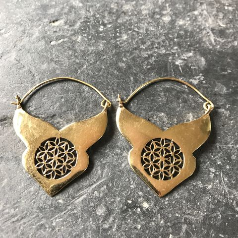 Tribal,ethnic,brass,earrings,with,flower,of,life,sacred, geometry, tribal, On, the, verge, online, Handmade, brass, spiral, earrings, boho, gipsy, ethnic, large, light, nickel-free