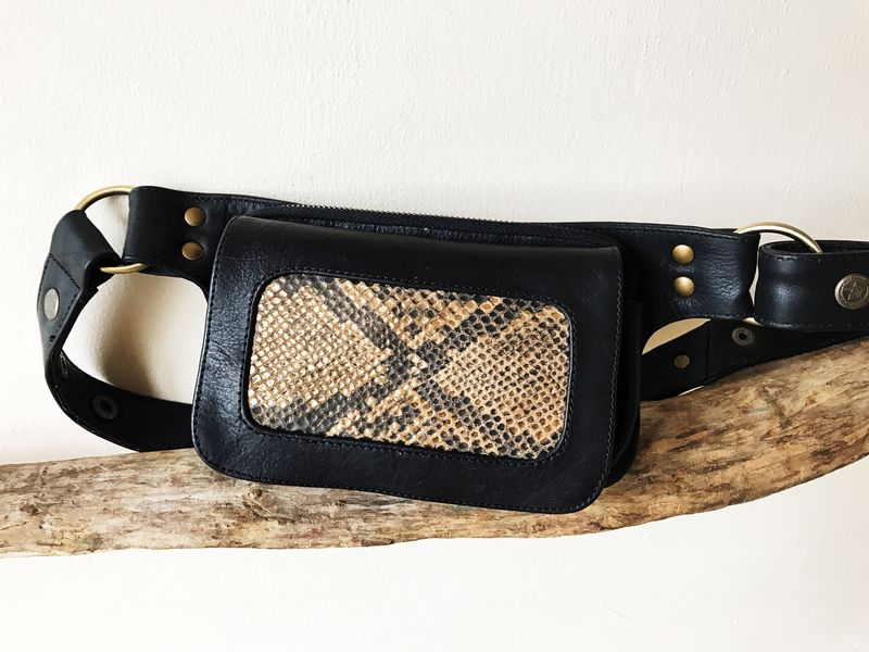 NHOT money belt: black cow leather with gold and black snake print on sheep skin: for every day living, traveling, dancing and festivals - product images  of