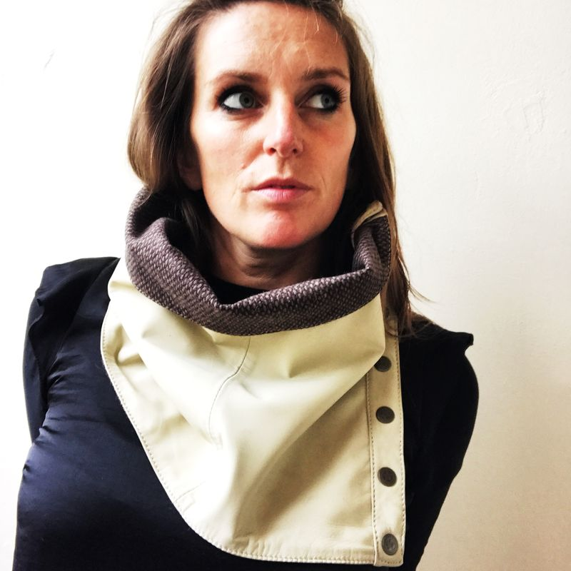 CREAM LEATHER and TWEED cowl neck scarf with fasteners - product images  of