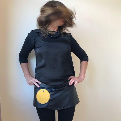 Leather,mini,skirt,-,sixties,melancholia,:,black,with,mustard,pockets,lamb,  Leather, mini, skirt, mini skirt, BLACK, mustard