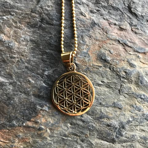 Flower,of,life,brass,pendant,(with,ball,chain),sacred gemomatry, flower of life, pendant, brass, nickel-free