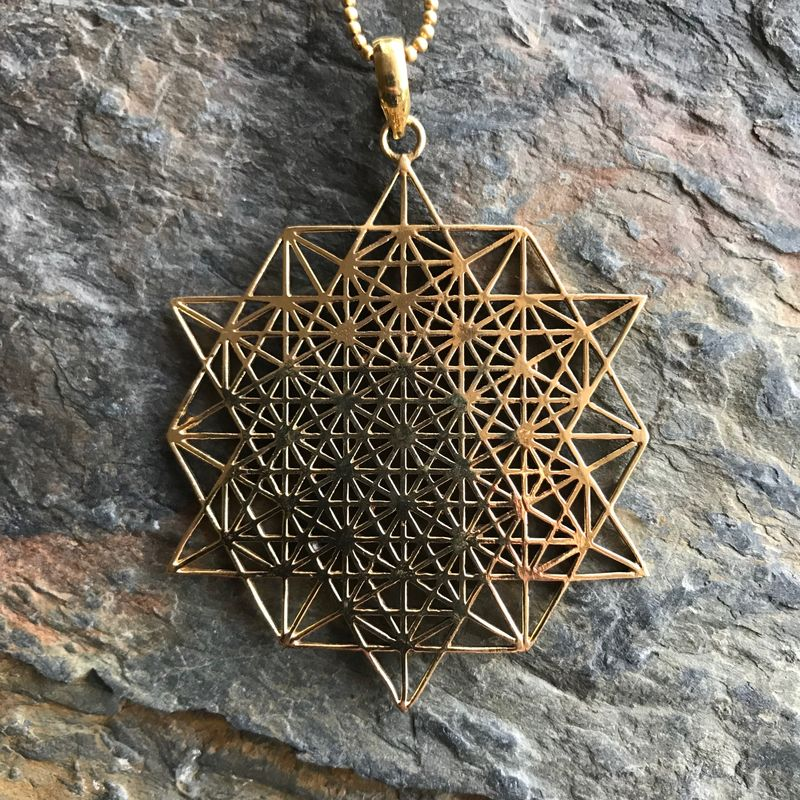 Tetrahedron star sacred geometry pendant (with additional ball chain) - product images  of
