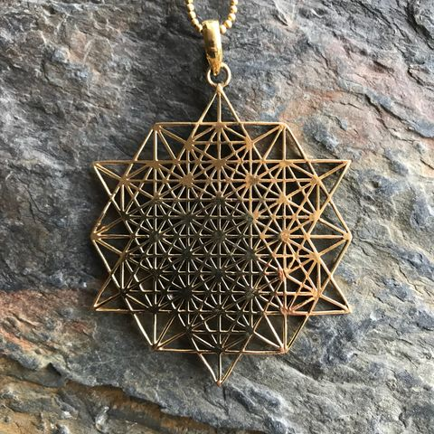 Tetrahedron,star,sacred,geometry,pendant,(with,additional,ball,chain),Egyptian, scarab, brass, pendant, necklace, nickel free,