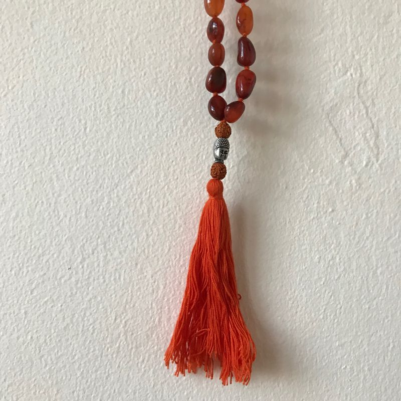 Mala bead necklace with carnelian stones and buddha bead: black with red  - product images  of