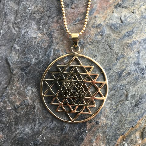 Sri,Yantra,sacred,geometry,brass,pendant,(with,ball,chain),sacred gemomatry, sacred, geometry, sri, yantra, sri-yantra, brass, nickel-free