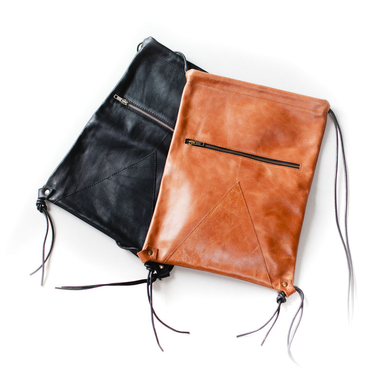 Leather backpack string bag: TAN or BLACK - product images  of