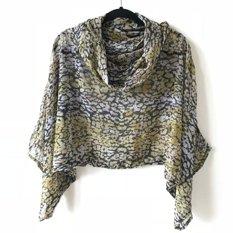 NEW 'la bohème' cowl neck hooded top: see-through multicoloured leopard print - product images  of