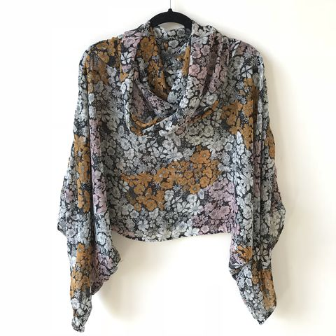 NEW,'la,bohème',cowl,neck,hooded,top:,see-through,,multicoloured,,floral,boho, top, cowl, neck, hooded, bohemian, floral